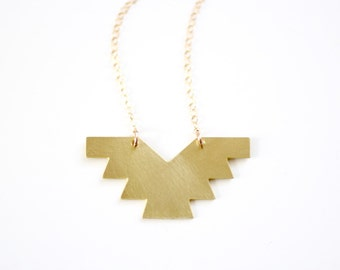 Geometric Brass Phoenix Necklace - Gold or Silver