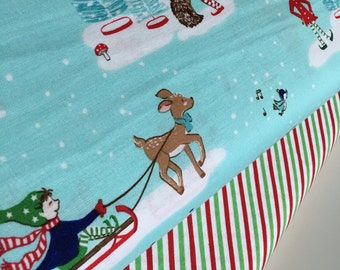 SALE fabric, Christmas fabric, Reindeer fabric bundle, Holiday fabric, Fabric by the Yard- Fabric Bundle of 2, Choose The Cuts