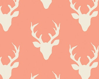 Hello Bear fabric, Deer Fabric by Bonnie Christine for Art Gallery, Woodland, Coral Orange fabric- Buck Forest in Coral, Choose your cut