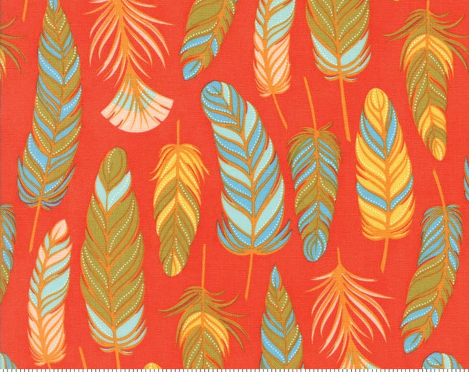 Feather fabric, Boho fabric, Red fabric, Feathers by Moda fabric, Fall fabric, Cotton fabric, Feathers in Persimmon, Choose the Cut