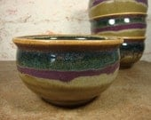 Olive, Purple and Blue Stoneware Soup Bowl - your choice