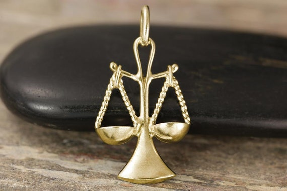 Gold Libra zodiac charm in 10kt, 14kt or 18kt in white, yellow or rose gold