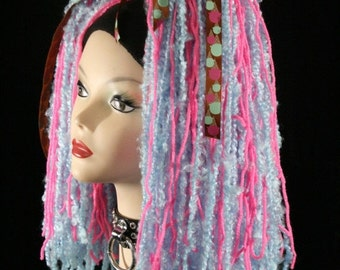 SALE hair falls cotton candy rave club kid dance party UV yarn cyber -- Ready To Ship -- Sisters Of the Moon
