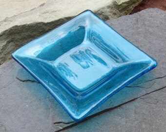 Small Fused Glass Trinket Dish Sky Blue