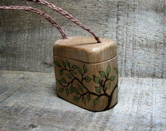 Natural Rustic Original Wooden Pill - Trinket - Necklace Box by Tanja Sova