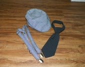 Ready to ship 12 to 24 month size  Gatsby cap suspenders and necktie set