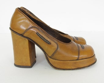 1970's Genuine Vintage Italian Women's Brown Leather Platform Shoes Sz 7