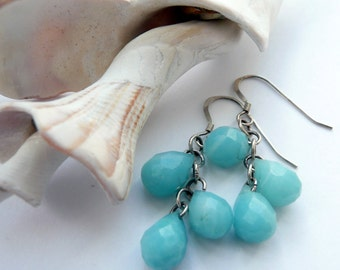 Handcrafted Artisan Blue Semi Precious Stone Amazonite Teardrops Sterling Silver OOAK Boho Hippie Easter Gift for Her Dangle Drop Earrings