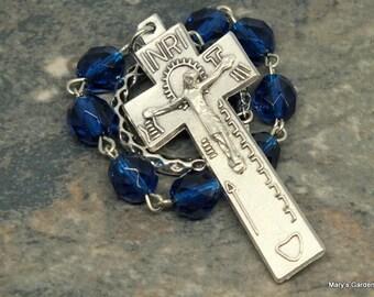 Irish Penal Chaplet of Capri Blue Czech Glass; 1 Decade Chaplet; Penal Rosary; Catholic Chaplet; Tenner; Decmeber Birthstone