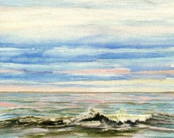 Original seascape watercolor painting, Sea and Sky I