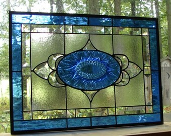 stained glass panel Sapphire Blue beveled