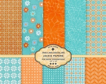Orange and Blue Digital Scrapbook Paper Pack for invites, card making, digital scrapbooking Jackie