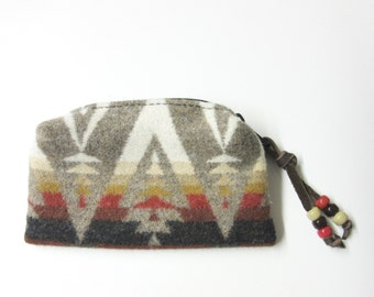Wool Zippered Pouch Coin Purse Change Purse Beaded Accessory Organizer Southwest Arrow