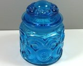 "L.E. Smith Moon and Stars Turquoise Blue Kitchen Jar Canister Smallest Size 5"" Tall"