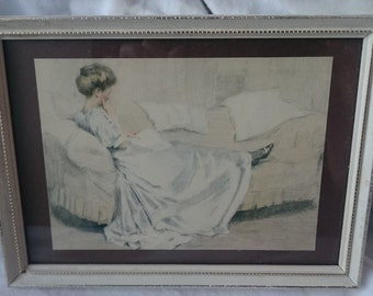Vintage Lady Reading a Book on a Sofa Art Print in Original Frame Mid Century