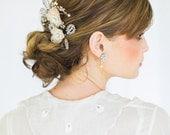 "Bridal Flower Hair Pins   Set of 2 Peach Handmade Lace Silk Roses   Pastel Wedding Hair Accessory   ""Coralie"""