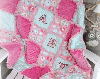 "Handcrafted Rag Quilt ""Baby Girl"""