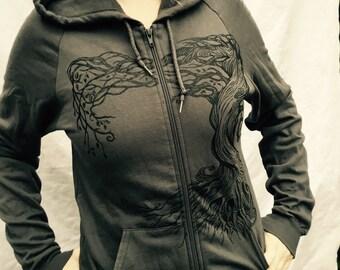 Gray Owl Tree Of Life Hoodie ZipUp Grey   Oak Fleece Made in USA XL Only