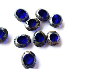 Glass beads , Czech new beads, blue oval with silver color trim 14mmx11mm, 10 beads