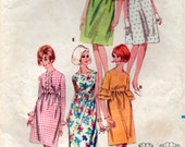 Vintage 1960's Puff Sleeves and Ruffles Dress Fitted bodice Sewing Pattern 32 inch bust Butterick 3909