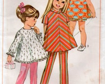 Vintage 1960s Girls A line Dress or Top Pants and Shorts Sewing Pattern Size 6 years Simplicity 7463