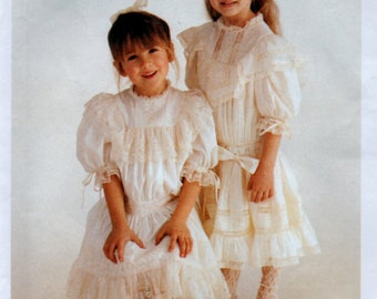 2T Sewing Pattern Martha Campbell Pullen Heirloom Dress and Slip Girls Size 2 McCalls 7681