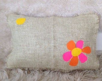 Vintage scandinavian pink yellow  floral pillow cover home decor 16x20