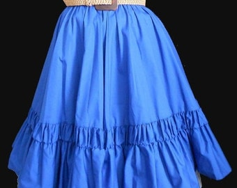 WEEKEND SALE CLEARANCE - Was 44.99 - Vintage 50s Style Full Gathered Skirt, 1960s Tiered Blue Cotton Blend by Malco Modes Partners Please, S