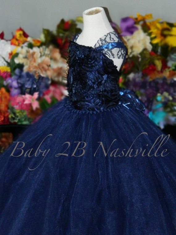 Navy Dress Flower Girl Dress Tulle Dress Wedding Dress Tutu Dress Party Dress Baby Dress Toddler Tutu Dress Girls Tulle Dress