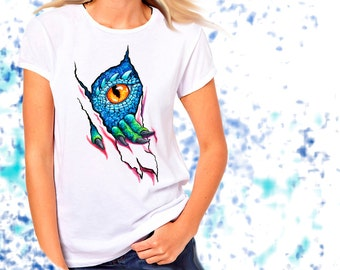 Ladies T-shirt Dragon Eye Watercolor Art Sizes XS-2X