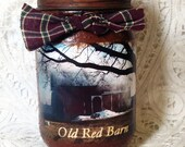 Jar Candle, Barns, Pint jar candle, Country Bumpkin fragrance, Grungy Jar Candles, Old Red Barn, 1 pint,  Moeggenborg Sugar Bush