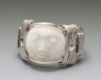 Carved Bone (bovine) Moon Face Cameo Sterling Silver Wire Ring - Made to Order and Ships Fast!