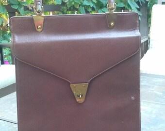 Vintage brown handbag 1960s purse leather dressy casual