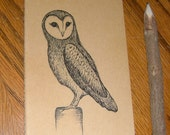 Barn Owl Drawing on Moleskine Journal