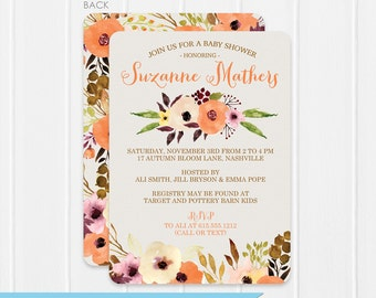 Watercolor Floral Baby Shower Invitation - Oranges and Pinks - Instant Download & Editable File - Personalize at home with Adobe Reader