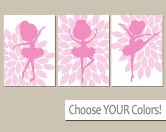 BALLERINA Nursery Wall Art, Hot Pink Baby Girl Nursery Wall Art, Girl Bedroom Pictures, CANVAS or Prints Girl Nursery Artwork Set of 3