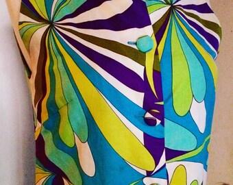 Vintage 60's Malia of Honolulu Hawaiian Dress, Pucci Style, Size S-M