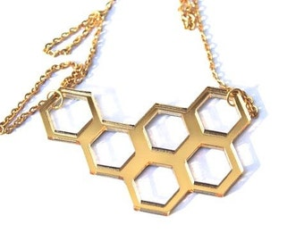 Geometric Necklace Laser Cut Gold Mirrored Acrylic Perspex Statement Piece 18ct Gold Plated Chain Modern Retro