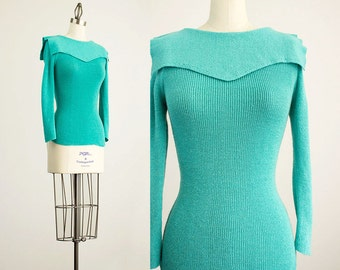 80s Vintage Organically Grown Aqua Sailor Collar Ribbed Knit Fitted Sweater Top / Size Small / Medium