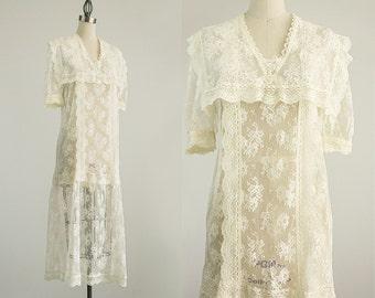 20% Off With Coupon Code! 90s Vintage Gunne Sax Ivory Lace Maxi Dress / Size Medium / Vintage Wedding Dress / Bridal