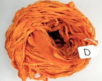 Sari Silk ribbon, Recycled Silk Chiffon Sari Ribbon, Saffron Orange sari ribbon, orange sari ribbon, chiffon ribbon