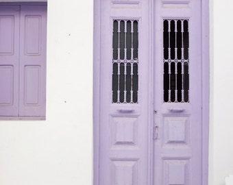 """Purple door print - Greece travel wall art - pale purple decor - white and lavender - door art print """"Purple Door"""""""