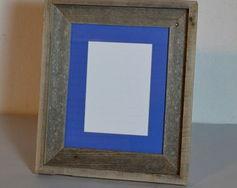 """8"""" x 10"""" standing photo frame with 5x7 blue mat handmade in the USA"""