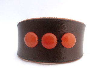 Brown Leather Cuff with Orange Beads