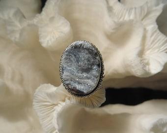 Beautiful Druzy Black Agate Ring Size 6.75