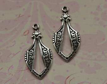 2 Silver Drop Charms 1688