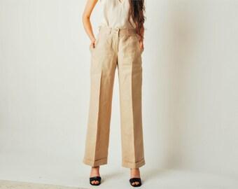 Vintage Ralph Lauren Linen Wide Leg Pants