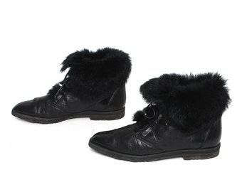 size 8 GRUNGE black leather 80s FUR CUFF lace up ankle boots