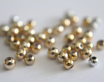 ONLY LOT - Vintage small gold and silver round beads 3mm (40)