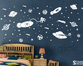 Outer Space Wall Decal   Rocket Planets Vinyl Stickers For Childrenu0027s Or  Boyu0027s Room Or Babyu0027s Part 38